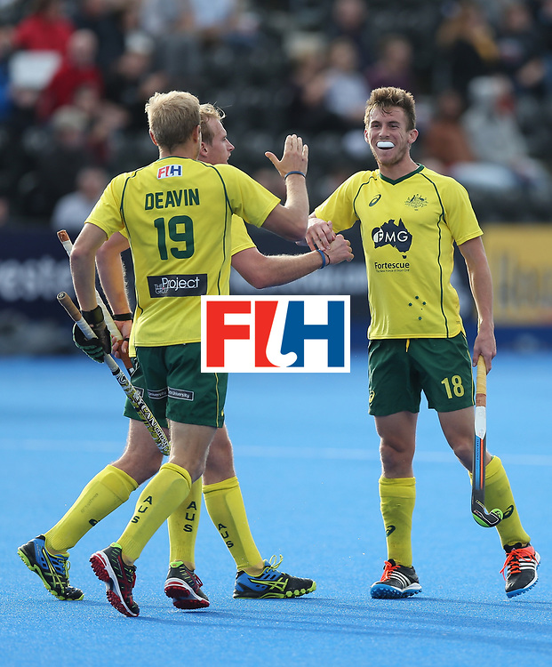 LONDON, ENGLAND - JUNE 14:  Tristan White of Australia celebrates after scorign their second goal during the FIH Mens Hero Hockey Champions Trophy match between Australia and Belgium at Queen Elizabeth Olympic Park on June 14, 2016 in London, England.  (Photo by Alex Morton/Getty Images)