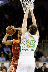 Jbrahim Jaaber  of Lottomatica vs Uros Slokar (15) of Olimpija at Euroleague basketball match in 5th Round of Group C between KK Union Olimpija and Virtus Lottomatica Roma, on November 25, 2009, in Arena Tivoli, Ljubljana, Slovenia. (Photo by Vid Ponikvar / Sportida)