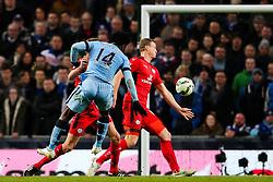 Manchester City's Wilfried Bony fires a shot towards goal   - Photo mandatory by-line: Matt McNulty/JMP - Mobile: 07966 386802 - 04/03/2015 - SPORT - football - Manchester - Etihad Stadium - Manchester City v Leicester City - Barclays Premier League