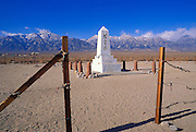 "Obelisk in the Manzanar Cemetery under Mt. Williamson (reads ""Monument to console the souls of the dead""), Manzanar War Relocation Center National Historic Site, Owens Valley, California"