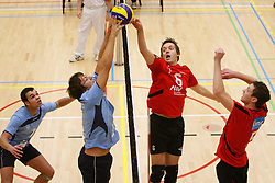 04-02-2012 VOLLEYBAL: HEREN 1STE DIVISIE VCN KING SOFTWARE - REDKEY GOIRLE : CAPELLE AAN DEN IJSSEL<br /> (L-R) Bob Ignacio, Martin Ferket van RedKey Goirle, Rene van Reeuwijk, Stefan Roobol van VCN King Software<br /> ©2012-FotoHoogendoorn.nl / Pim Waslander