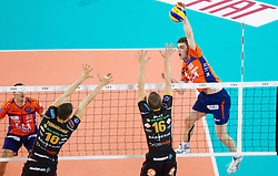 Uros Kovacevic of ACH during volleyball match between ACH Volley and Lube Banca Marche Macerata (ITA) in 5th Leg of Pool D of 2013 CEV Champions League on December 5, 2012 in Arena Stozice, Ljubljana, Slovenia. (Photo By Vid Ponikvar / Sportida)