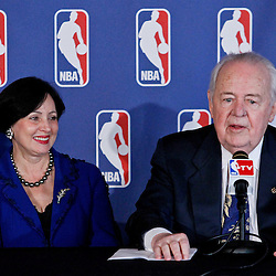 April 16, 2012; New Orleans, LA, USA; New Orleans Hornets and Saints owner Tom Benson and his wife Gayle Benson at press conference announcing ownership to the Benson's and the awarding of the 2014 All Star game to the city of New Orleans at the New Orleans Arena.   Mandatory Credit: Derick E. Hingle-US PRESSWIRE