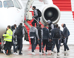 Daley Blind and Luke Shaw as the Manchester United team fly to Wales on Tuesday morning for their Carabao Cup match against Swansea City