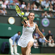 LONDON, ENGLAND - JULY 13:  Magdalena Rybarikova of Slovakia in action against Garbine Muguruza of Spain in the Ladies Singles Semi Final match during the Wimbledon Lawn Tennis Championships at the All England Lawn Tennis and Croquet Club at Wimbledon on July 13, 2017 in London, England. (Photo by Tim Clayton/Corbis via Getty Images)