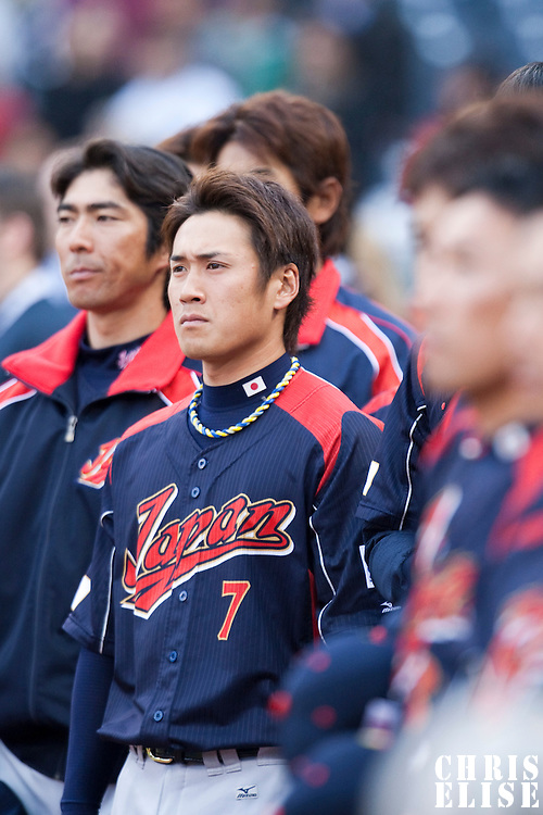 19 March 2009: #7 Yasuyuki Kataoka of Japan stands during the national anthem prior to the 2009 World Baseball Classic Pool 1 game 6 at Petco Park in San Diego, California, USA. Japan wins 6-2 over Korea.