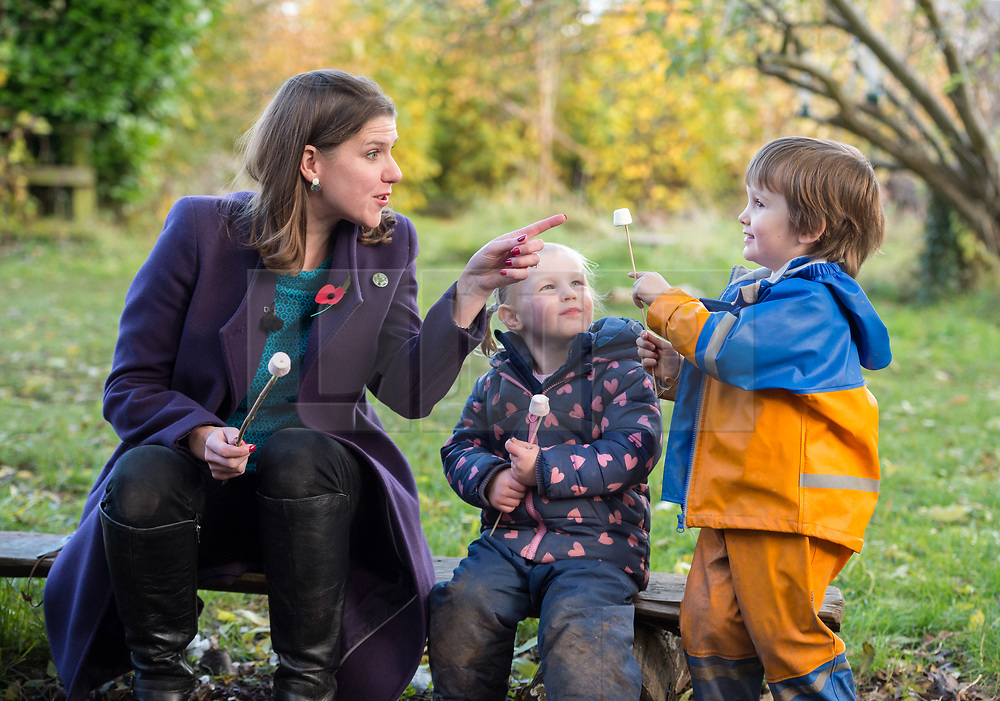 © Licensed to London News Pictures. 07/11/2019. Midsomer Norton, Bath and North East Somerset, UK. General Election 2019; JO SWINSON, Leader of the Liberal Democrats, toasts marshmallows with children on a visit to Free Rangers, a 57-place Forest School Nursery that offers childcare from birth to five years. The Lib Dems aim to highlight the threat to UK nurseries, pre-schools and childminders with the risk of closures due to Government cuts and ongoing under-funding. Photo credit: Simon Chapman/LNP.