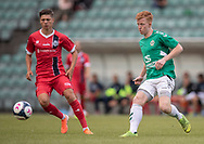 Daniel Warmbach (AB) spiller bolden forbi Frederik Juul Christensen (FC Helsingør) under kampen i Sydbank Pokalen, 1. runde,  mellem AB og FC Helsingør den 6. august 2019 på Gladsaxe Stadion (Foto: Claus Birch).