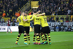 01.03.2014, Signal Iduna Park, Dortmund, GER, 1. FBL, Borussia Dortmund vs 1. FC Nuernberg, 23. Runde, im Bild Mats Hummels (Borussia Dortmund #15) beim Torjubel nach dem Treffer zum 1:0 mit Pierre-Emerick Aubameyang (Borussia Dortmund #17), Lukas Piszczek (Borussia Dortmund #26), Kapitaen Sebastian Kehl (Borussia Dortmund #5), Emotion, Freude, Glueck, Positiv // during the German Bundesliga 23th round match between Borussia Dortmund and 1. FC Nuernberg at the Signal Iduna Park in Dortmund, Germany on 2014/03/01. EXPA Pictures © 2014, PhotoCredit: EXPA/ Eibner-Pressefoto/ Schueler<br /> <br /> *****ATTENTION - OUT of GER*****