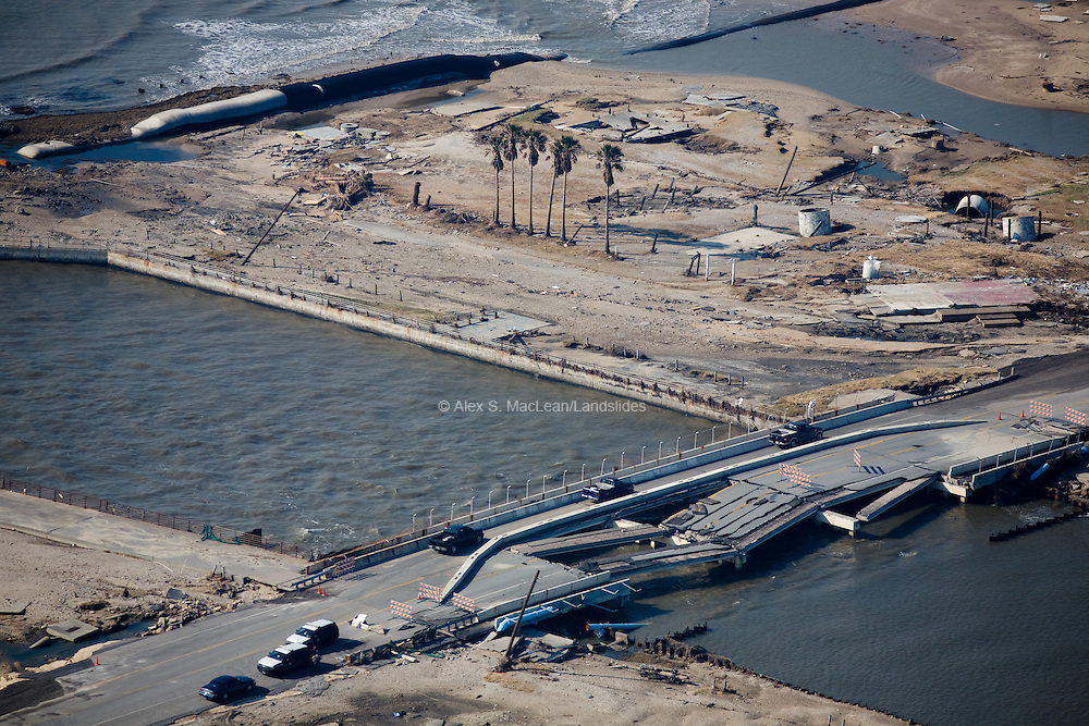 Broken bridge caused by the devestating effects of Hurriane Ike on September 13, 2008 near Rollover Bay along the Gulf of Mexico.