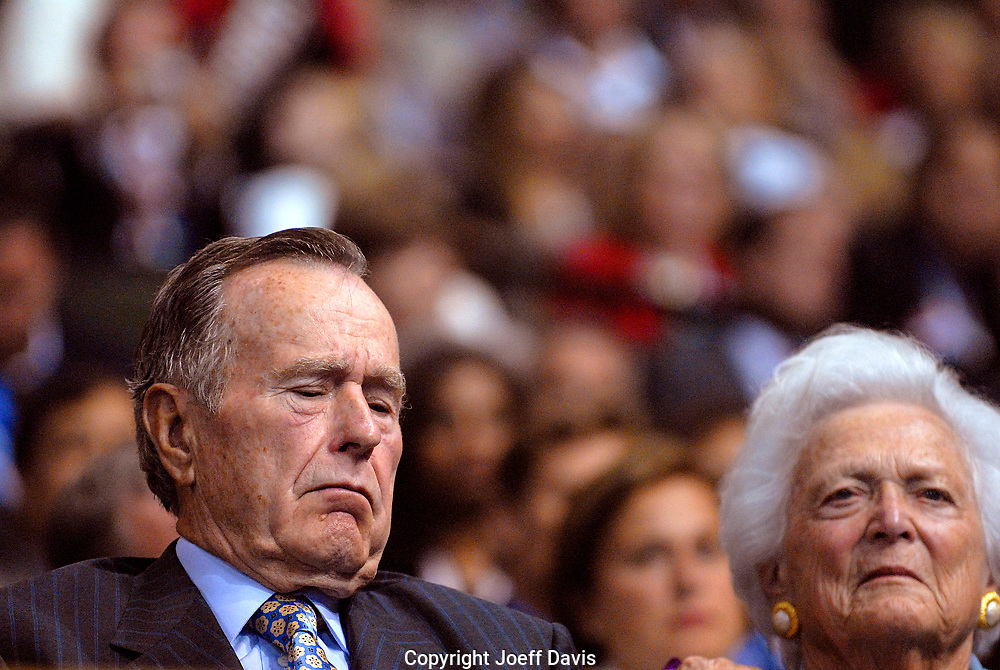 George H. W. Bush and Barbara Bush, September, 2008, at the 2008 Republican National Convention in St. Paul, Minnesota.