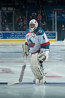 KELOWNA, CANADA - NOVEMBER 11: James Porter #1 of the Kelowna Rockets stands on the ice against the Red Deer Rebels on November 11, 2017 at Prospera Place in Kelowna, British Columbia, Canada.  (Photo by Marissa Baecker/Shoot the Breeze)  *** Local Caption ***