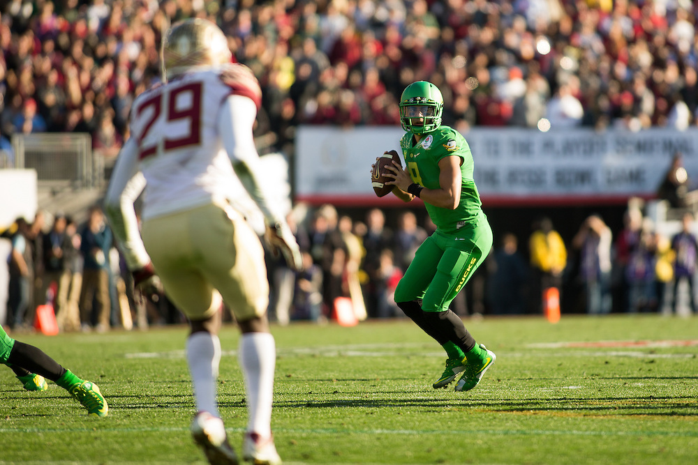 Marcus Mariota, Oregon Quarterback. Photographed at the 2015 Rose Bowl Game in Pasadena, California, on January 1, 2015. (Photograph ©2015 Darren Carroll)