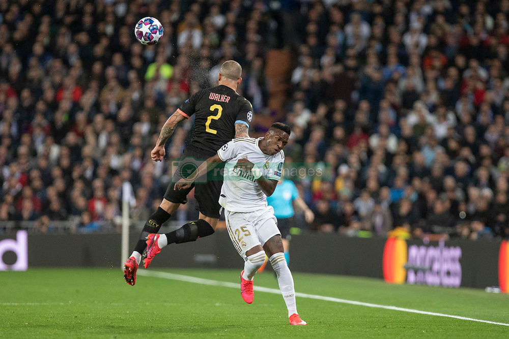 Real Madrid's Vinicius Junior and Manchester City's Kyle Walker during the UEFA Champions League round of 16 first leg match Real Madrid v Manchester City at Santiago Bernabeu stadium on February 26, 2020 in Madrid, Sdpain. Real was defeated 1-2. Photo by David Jar/AlterPhotos/ABACAPRESS.COM