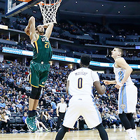20 November 2016: Utah Jazz center Rudy Gobert (27) goes for the dunk during the Denver Nuggets 105-91 victory over the Utah Jazz, at the Pepsi Center, Denver, Colorado, USA.