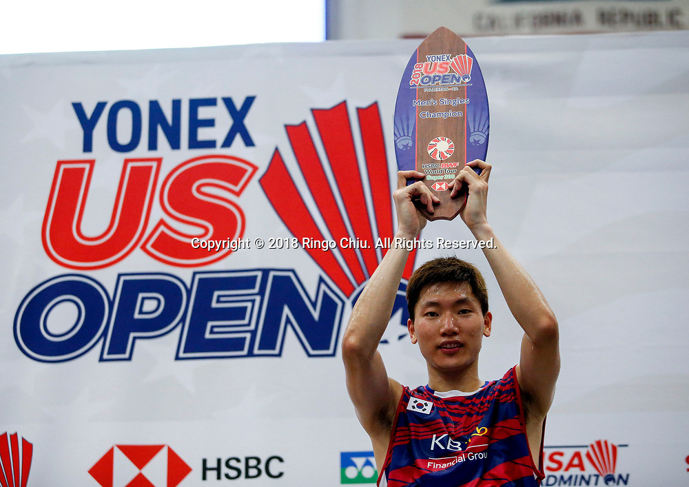 Korea's Lee Dong Keun claims title of U.S. Open Badminton Championships men's singles <br /> <br /> Lee Dong Keun of Korea, celebrates with his trophy after defeating Mark Caljouw of Netherland, during the men's singles final match at the U.S. Open Badminton Championships in Los Angeles, the United States on June 17, 2018. Lee won 2-1. (Xinhua/Zhao Hanrong)<br /> (Photo by Ringo Chiu)<br /> <br /> Usage Notes: This content is intended for editorial use only. For other uses, additional clearances may be required.