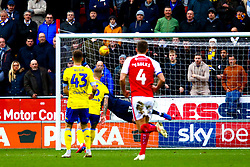 Semi Ajayi of Rotherham United's shot goes past Francisco Casilla of Leeds United to give Rotherham United the lead - Mandatory by-line: Ryan Crockett/JMP - 26/01/2019 - FOOTBALL - Aesseal New York Stadium - Rotherham, England - Rotherham United v Leeds United - Sky Bet Championship