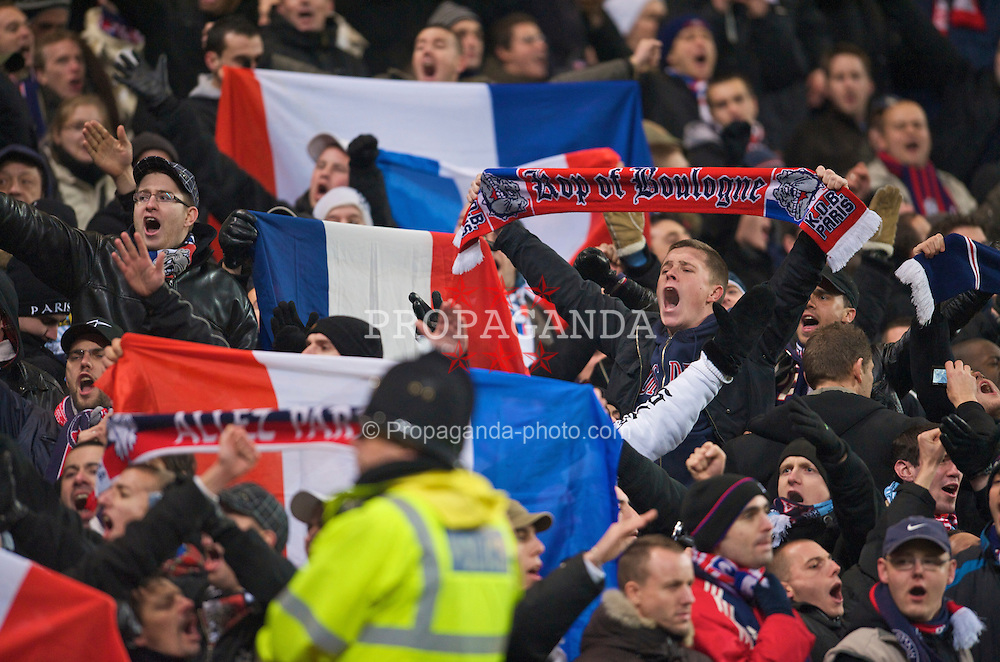 MANCHESTER, ENGLAND - Wednesday, December 3, 2008: Paris Saint-Germain's supporters during the UEFA Cup Round of 32 Group A match against Manchester City at the City of Manchester Stadium. (Photo by David Rawcliffe/Propaganda)