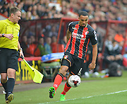 AFC Bournemouth's Callum Wilson on the ball during the Sky Bet Championship match between Bournemouth and Blackpool at the Goldsands Stadium, Bournemouth, England on 14 March 2015. Photo by Mark Davies.