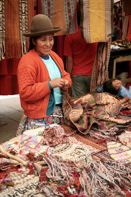 Americas, South America, Peru, Pisac. Earthtones at Pisac Market.