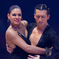 23 January 2010: Maria Ashchepkova and Vladyslav Talybin perform during the Masters Bercy Latin and Ballroom (standard) Dancesport Championship 2010, at Palais Omnisports Paris Bercy, in Paris, France. .