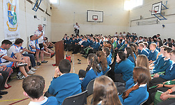 The CROSS Rugby Legends Cycle stopped off at Sancta Maria College Louisburgh on tuesday where they spent time at the school with the pupils Finbarr Walsh father of the late Donal Walsh also spoke to the students.<br /> Pic Conor McKeown
