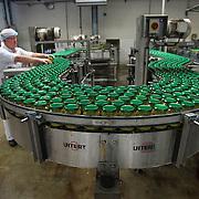 Nederland Giessen 26 augustus 2009 20090826 ..Serie over levensmiddelensector                                                                                      .HAK fabriek, verwerking groente. Medewerker controleert steekproefsgewijs de potjes met doperwten, voedselveiligheid, werk, werken, werknemer, werknemers, worker, workers ..Foto: David Rozing
