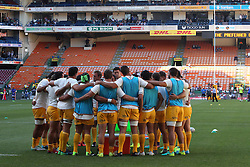 Team Huddle during warm up during the Super Rugby match between DHL Stormers and Jaguares held at DHL Newlands in Cape Town, South Africa on the 4th March 2017.<br /> <br /> Photo by Ron Gaunt/Villar Press