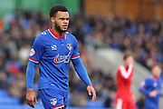 Aaron Amadi-Holloway of Oldham Athletic during the Sky Bet League 1 match between Oldham Athletic and Chesterfield at Boundary Park, Oldham, England on 28 March 2016. Photo by Simon Brady.
