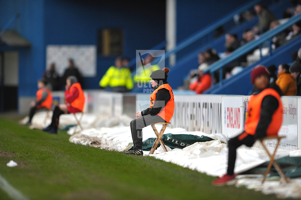 TELFORD COPYRIGHT MIKE SHERIDAN Ballboys watch on  during the Vanarama Conference North fixture between AFC Telford United and Darlington at The New Bucks Head on Saturday, March 7, 2020.<br /> <br /> Picture credit: Mike Sheridan/Ultrapress<br /> <br /> MS201920-049