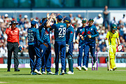 England ODI  celebrate the wicket of Australia ODI batsman Aaron Finch  during the 5th One Day International match between England and Australia at Old Trafford, Manchester, England on 24 June 2018. Picture by Simon Davies.