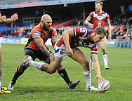 Jacob Miller of Wakefield Trinity Wildcats touches down to score during the Pre-season Friendly match at Belle Vue, Wakefield<br /> Picture by Richard Land/Focus Images Ltd +44 7713 507003<br /> 15/01/2017