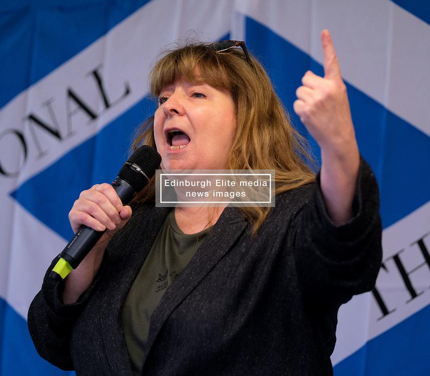 Independence Rally, Glasgow, Saturday 2nd November 2019<br /> <br /> Pictured: Comedian Janey Godley<br /> <br /> Alex Todd   Edinburgh Elite media