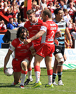 Ade Gardner (left) of Hull Kingston Rovers celebrates his teams 4th try of the game with his team mates during the First Utility Super League match at the KC Lightstream Stadium, Kingston upon Hull<br /> Picture by Richard Gould/Focus Images Ltd +44 7855 403186<br /> 25/05/2014