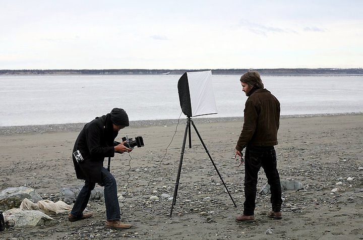 ANCHORAGE, ALASKA - 2009: Brian Adams photographing musician Tim Easton.<br />