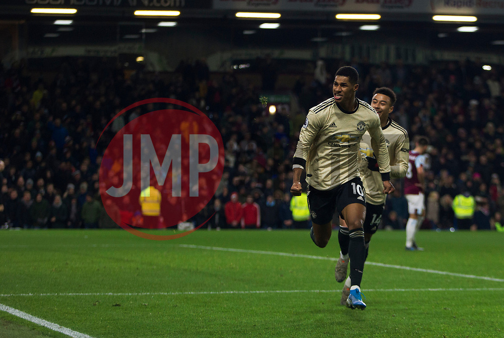 Marcus Rashford of Manchester United celebrates after scoring his sides second goal - Mandatory by-line: Jack Phillips/JMP - 28/12/2019 - FOOTBALL - Turf Moor - Burnley, England - Burnley v Manchester United - English Premier League