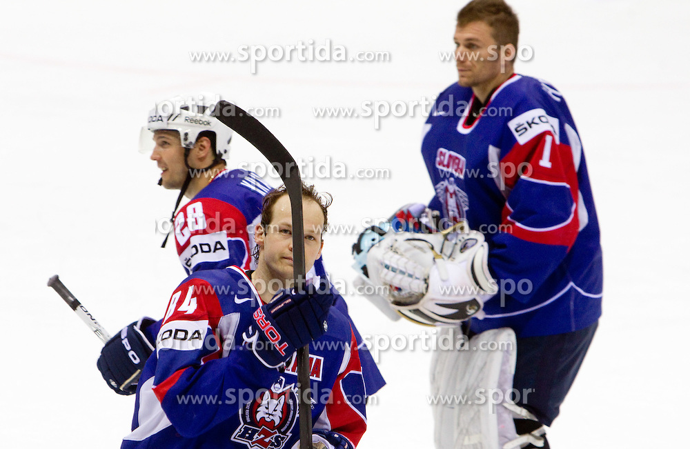 Andrej Hebar of Slovenia, Ales Kranjc of Slovenia and Andrej Hocevar, goalkeeper of Slovenia during ice-hockey match between Slovenia and Latvia of Group G in Relegation Round of IIHF 2011 World Championship Slovakia, on May 5, 2011 in Orange Arena, Bratislava, Slovakia. Slovenia defeated Latvia 5-2. (Photo By Vid Ponikvar / Sportida.com)