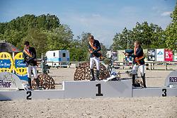 Podoium Young Riders, Thomas gilles, Vermeir Dieter, Van Hazebroeck Matrhias<br /> Belgisch Kampioenschap - Azelhof 2019<br /> © Hippo Foto - Dirk Caremans<br /> Podoium Young Riders, Thomas gilles, Vermeir Dieter, Van Hazebroeck Matrhias