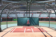 ANAHEIM, CA - MAY 4:  The batting cage stands ready for batting practice before the Los Angeles Angels of Anaheim game against the Baltimore Orioles on Saturday, May 4, 2013 at Angel Stadium in Anaheim, California. The Orioles won the game 5-4 in ten innings. (Photo by Paul Spinelli/MLB Photos via Getty Images)