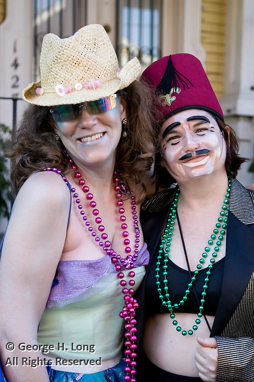 Shannon Manthey and Sarah Eileen Hoffpauir celebrate Mardi Gras in the  Faubourg Marigny of New Orleans