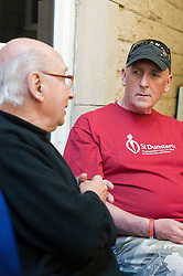 At St Dunstans Centre on Fullwood Road Sheffield  Billy Black, who is taking part in the Center2Centre March from Bristol to LLandudno a distance of 327 miles chat with St. Dunstan's Rudy Wessley.13th September2011 Image © Paul David Drabble