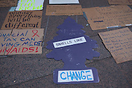 New York City, NY, Sept 27th 2011, Humorous signs fill a sidewalk in front of the  The Occupy Wall Street Protest Movement continues to occupy Liberty Square a few blocks from Wall Street.The protesters set up and encampment in Liberty Square inspired by the Egyptian Tahrir Square uprising on Sept. 17th. <br /> The activists have been protesting against corporate greed and a corrupt political system since Sept. 17th. 80 people were arrested on Sept. 24th when the police clashed with the protesters near Union Square Park.
