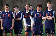 Freedom Plains, NY - Horace Greeley boys' soccer players show their disappointment after losing in overtime to Arlington High School in the Section 1 Class AA championship game on Nov. 7, 2009.