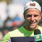 March 7, 2015, Indian Wells, California:<br /> Denis Kudla is introduced during Kids Day at the Indian Wells Tennis Garden in Indian Wells, California Saturday, March 7, 2015.<br /> (Photo by Billie Weiss/BNP Paribas Open)
