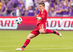 April 8, 2018 - Orlando, FL, U.S. - ORLANDO, FL - APRIL 08: Orlando City goalkeeper Joseph Bendik (1) kicks the ball during the MLS soccer match between the Orlando City FC and the Portland Timbers at Orlando City SC on April 8, 2018 at Orlando City Stadium in Orlando, FL. (Photo by Andrew Bershaw/Icon Sportswire) (Credit Image: © Andrew Bershaw/Icon SMI via ZUMA Press)