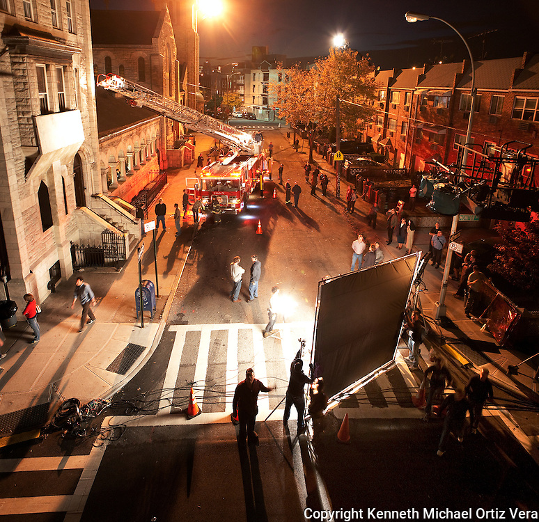 Working on the set of the television show Rescue Me allows me to get the opportunity to make images like these.  The crew was setting up for a scene that involved a burning church in Williamsburg Brooklyn.