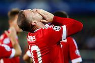 26-08-2015 VOETBAL:CLUB BRUGGE-MANCHESTER UNITED:BRUGGE<br /> Champions League 2015-2016<br /> <br /> Rooney van Manchester United viert de 0-1<br /> <br /> <br /> Foto: Geert van Erven