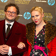 NLD/Amsterdam/20151215 - première van STAR WARS: The Force Awakens!, Diederik Jekel en partner Coosje Smid