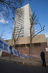 © licensed to London News Pictures. London, UK 17/02/2013. Albon House in Neville Gill Close, where 16 year-old boy stabbed to death in Wandsworth, south London. Photo credit: Tolga Akmen/LNP
