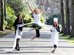 Repro Free: 19/02/2013 .Actress and mum Vivienne Connolly is pictured jumping for joy as she teams up with Flora dietician, Harriette Lynch and Masterchef's Nicha Maguire to launch the 'Flora Cookbook' as part of the Women's Mini Marathon 2013. Flora are inviting participants of Flora Women's Mini Marathon to share their favorite family recipes for inclusion in a new Flora Cookbook.   Nicha Maguire and Harriette Lynch will then introduce small changes to the recipes to make them even more nutritious. Registration for this year's event, which attracts 40,000 participants annually, opens on Wednesday, 20 February. Pic Andres Poveda.